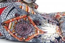Echarpe motif aztèque homme et femme bleu et rouge