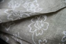 Echarpe en coton beige et blanc