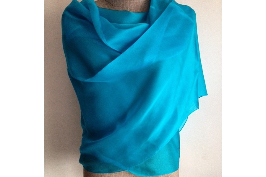Etole en soie bleu turquoise f989b238346