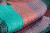 foulard en soie sauvage rayé multicolore