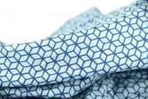 Écharpe coton rayée bleu et blanc