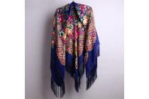 Chale triangulaire en coton et laine avec fleurs et à franges