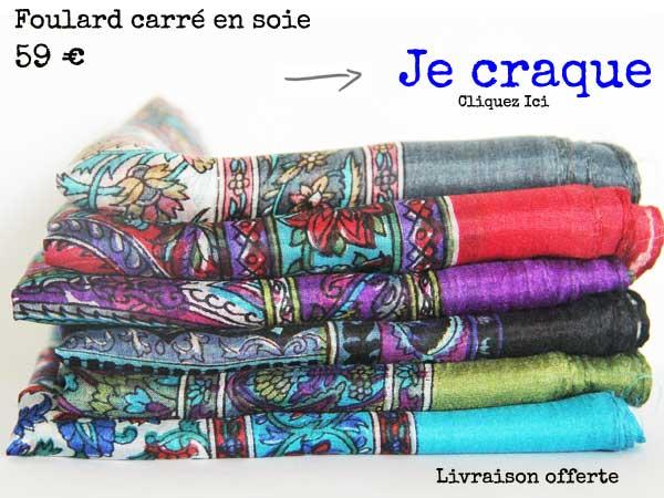 foulard carre soie indienne
