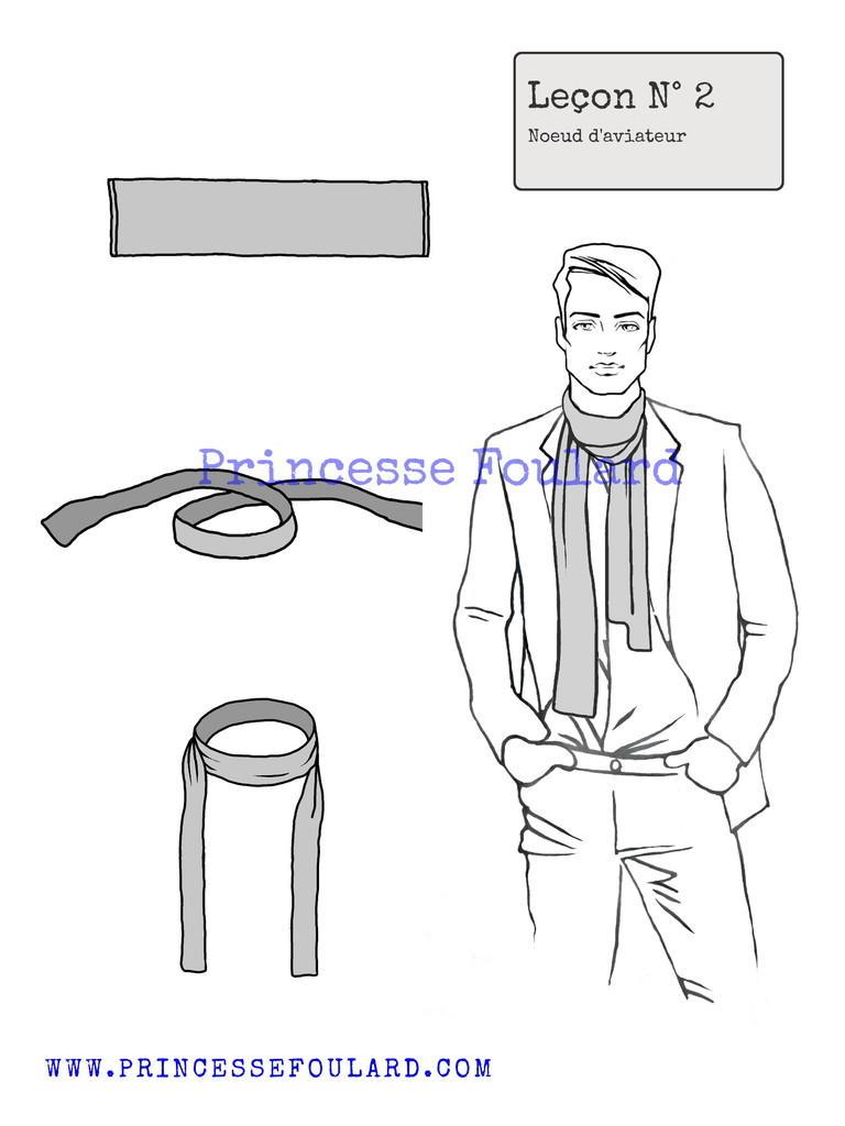 Le noeud d'aviateur avec un foulard pour homme