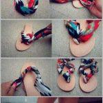 Customiser, décorer ses tongs ou chaussures en cuir avec un foulard
