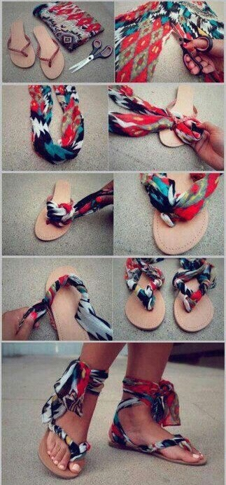 foulard chaussures tongs