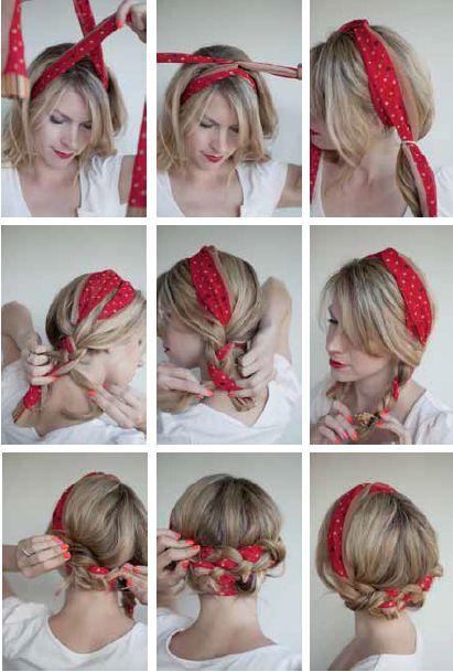 nouer foulard rectangulaire cheveux