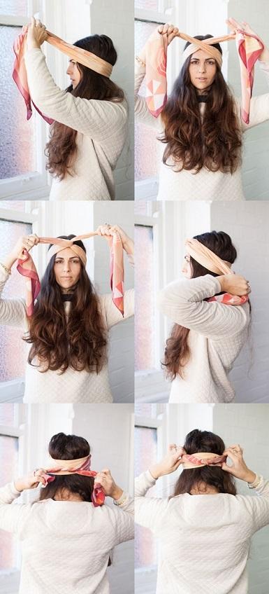 porter foulard rectangulaire