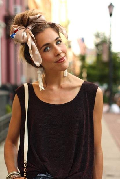 coiffure foulard noeud