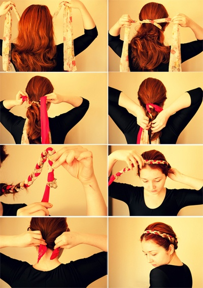 comment faire une ou deux tresses cheveux en natte avec un foulard. Black Bedroom Furniture Sets. Home Design Ideas