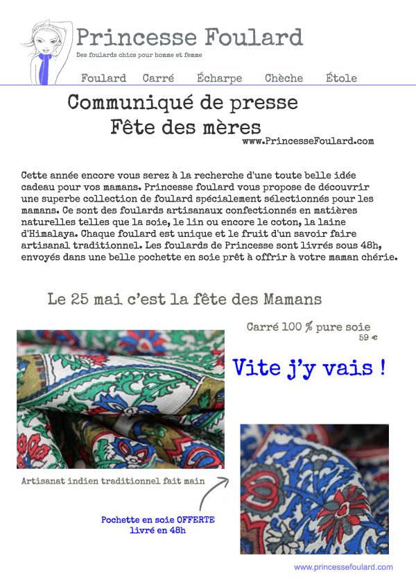 COMMUNIQUE DE PRESSE FETE DES MERES