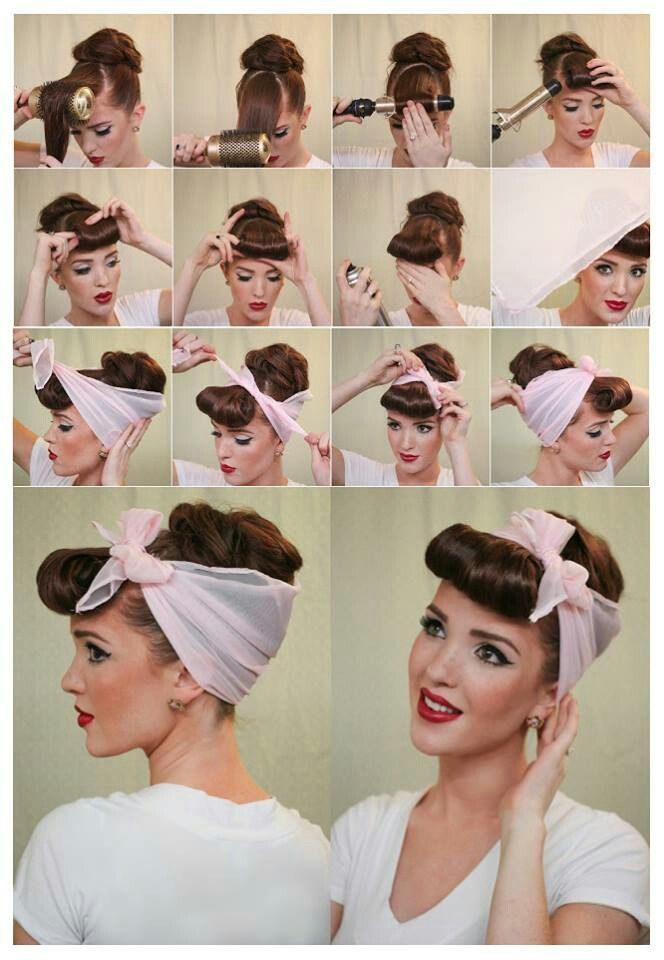 coiffure avec un foulard ou bandana fa on pin up. Black Bedroom Furniture Sets. Home Design Ideas