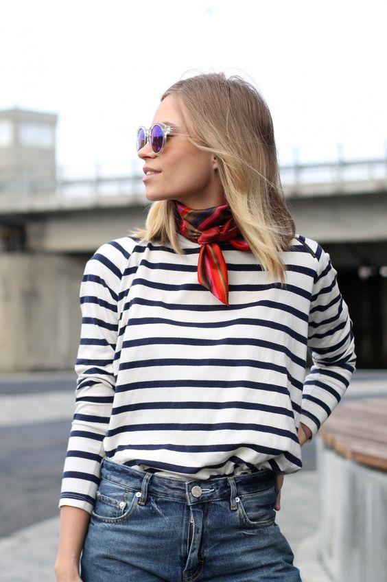 foulard marin femme raye