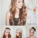 Coiffure bohème, romantique et champêtre avec un foulard cheveux