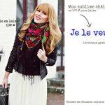 Acheter un foulard ou châle russe vintage en laine à fleurs folk