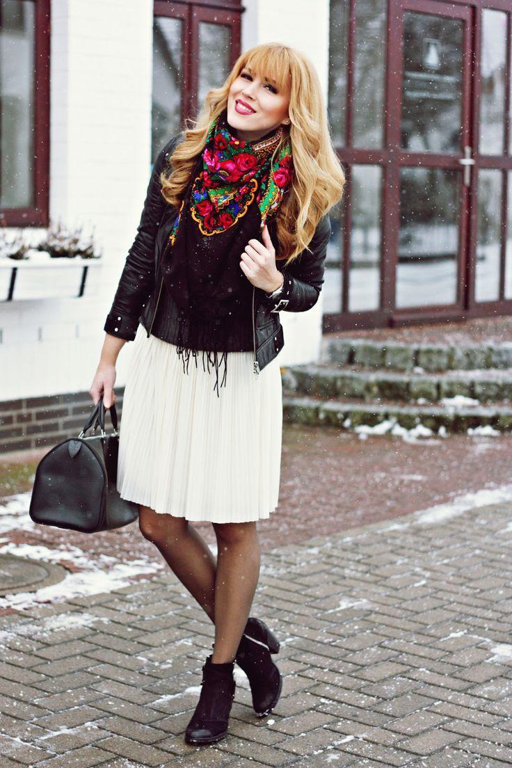Acheter Un Foulard Ou Ch Le Russe Vintage En Laine Fleurs Folk
