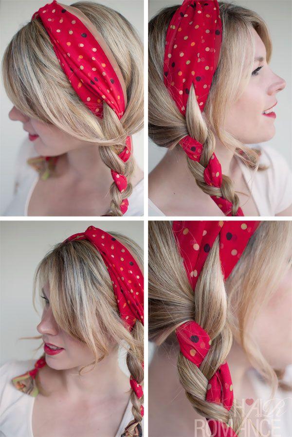 foulard dans double tresse cheveux