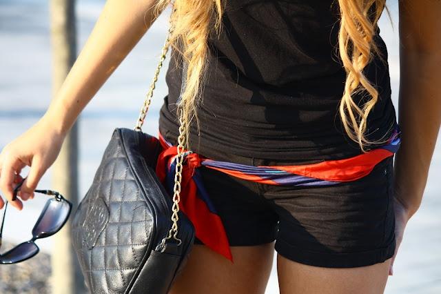 nouer foulard en ceinture mode