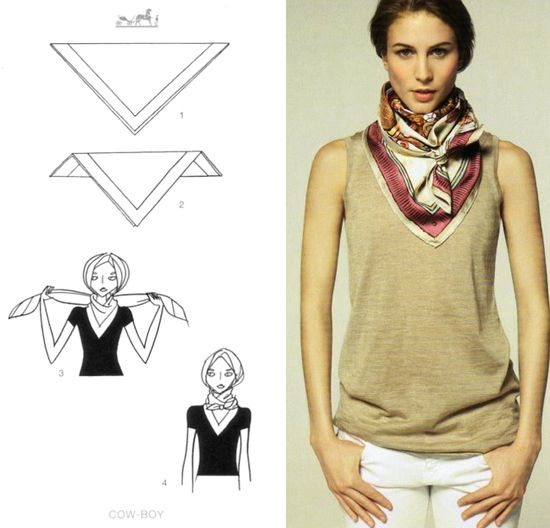 noeud plat pour foulard