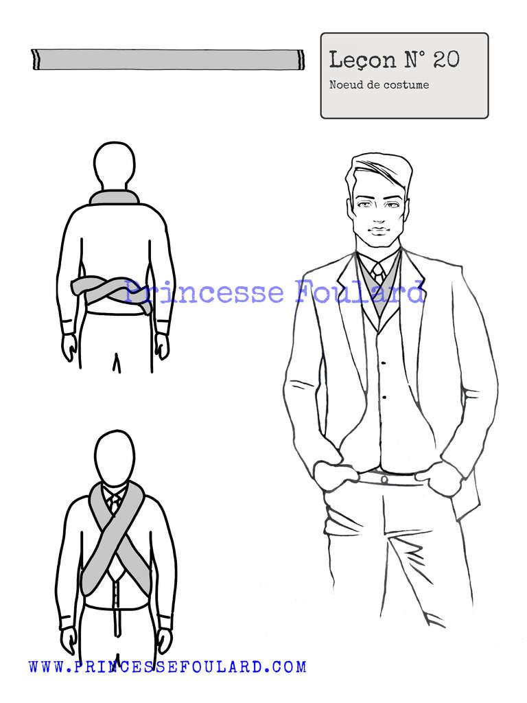 Comment nouer son foulard pour homme avec un costume - https://www.princessefoulard.com/