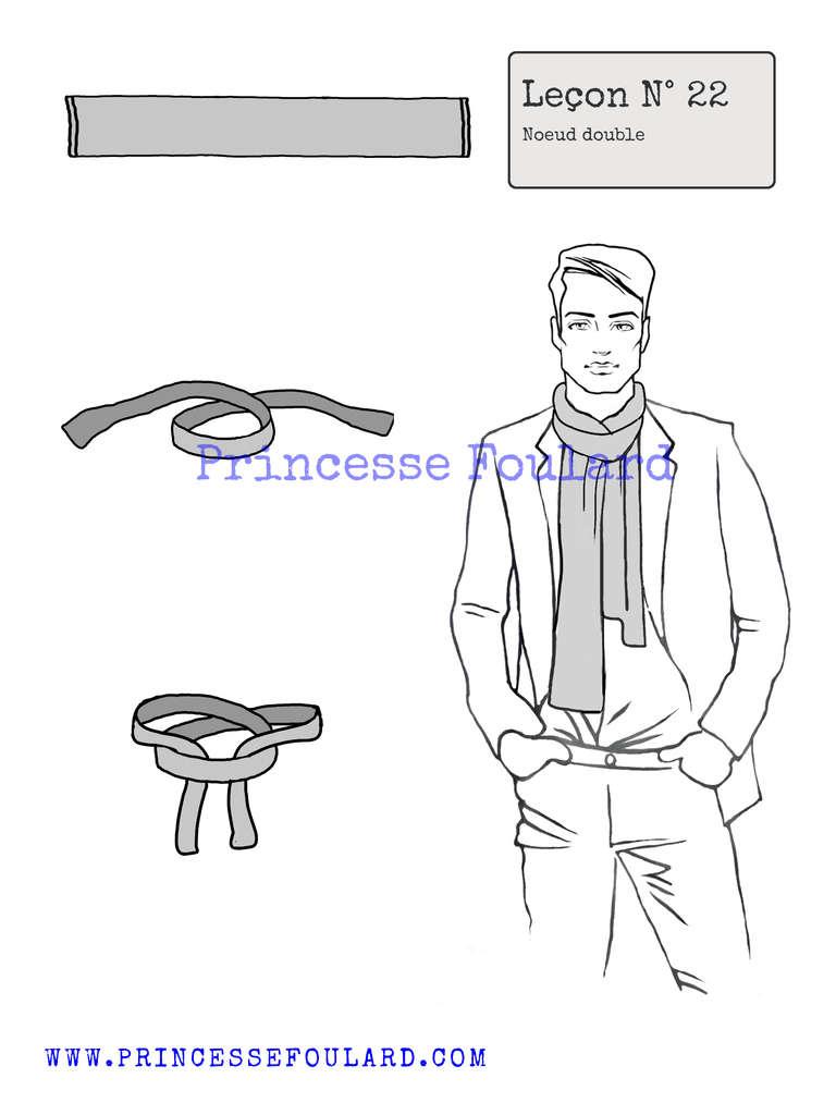 Commment faire le n?ud de foulard double pour homme - http://www.princessefoulard.com/