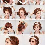 Coiffure avec foulard en couronne cheveux