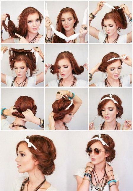 coiffure foulard en couronne cheveux