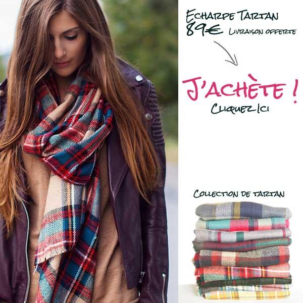 Echarpe plaid en laine femme et homme 69090b4f790