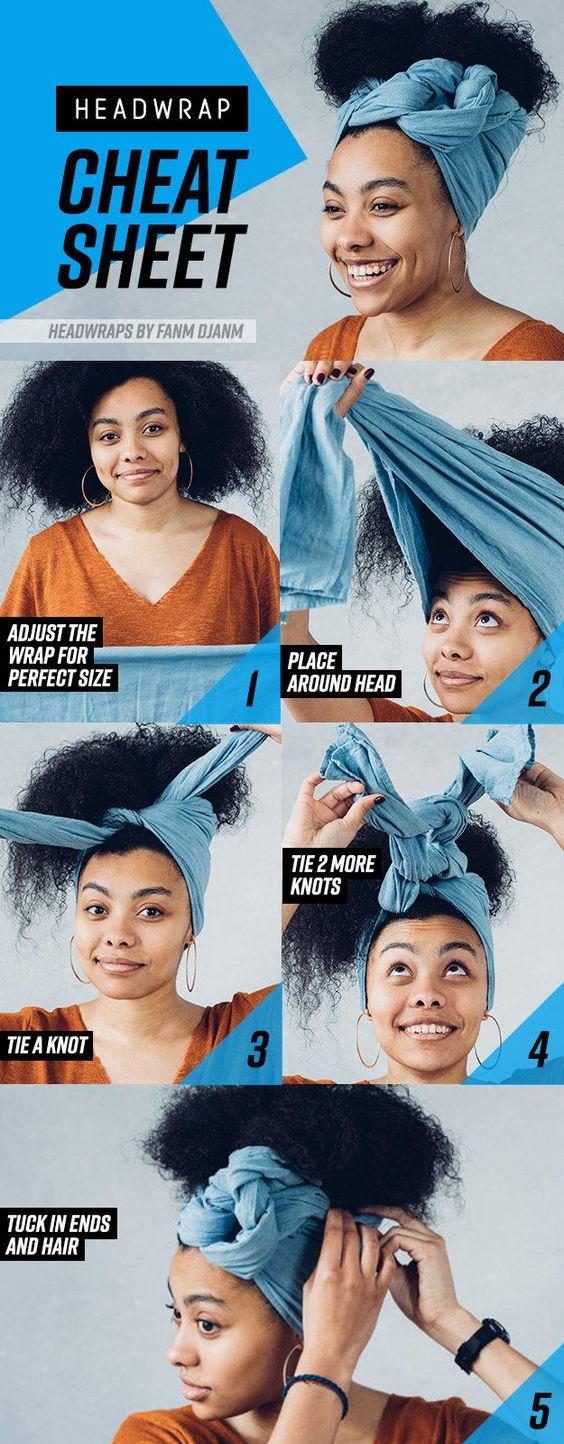 tuto coiffure foulard cheveux frises boucles